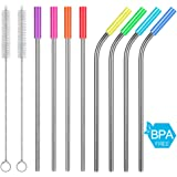 """Metal Straws,8.5""""Long Stainless Steel Straws, Reusable Drinking Metal Straws for Smoothie, Milkshake, Cocktail and Hot Drinks, Fit 20 30OZ YETI RTIC Ozark Tumbler Cups With Silicone Tips (Set of 8)"""