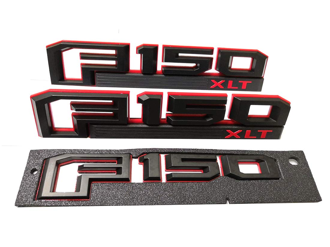 F150 Rear Tailgate Badge 3D Decal Nameplate Replacement for 2015 2016 2017 Ford F-150 Black /& Red 3x F150 XLT Fender Emblems