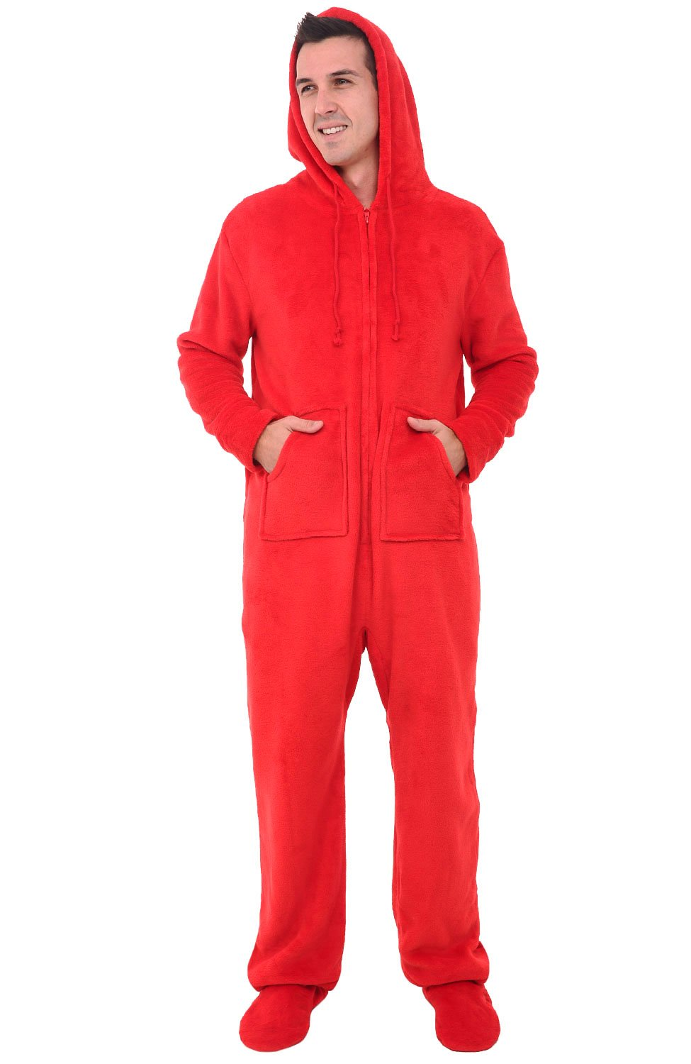 Alexander Del Rossa Mens Fleece Onesie, Hooded Footed Jumpsuit Pajamas, Large Red (A0320REDLG)