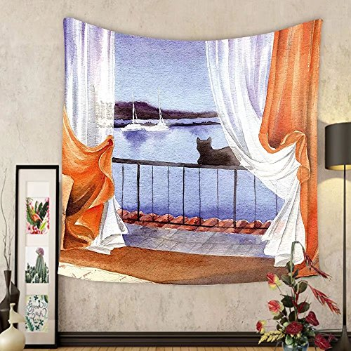 Gzhihine Custom tapestry Animal Tapestry Black Cat Seeing the Sea Sailboats at Hand Painted Watercolors Artwork for Bedroom Living Room Dorm 80WX60L Orange White Blue by Gzhihine