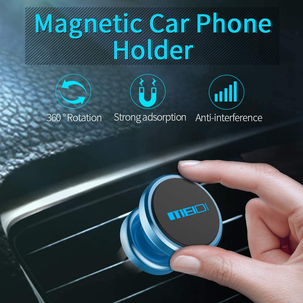 MEIDI Magnetic Phone Car Mount Air Vent Multi-Angle Rotation Phone Holder Compatible with iPhone 7//6 Plus VC-4013LB Samsung More Blue
