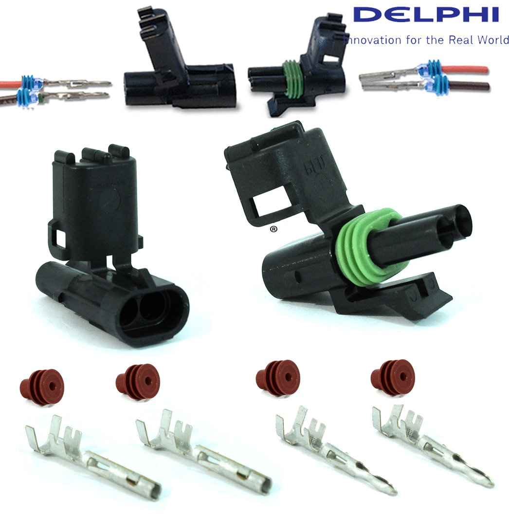 Delphi Packard (2 Circuits) Weatherpack, Waterproof, Terminal Kit 18, 20 GA (Pack of 4 Set) by Delphi Connection Systems