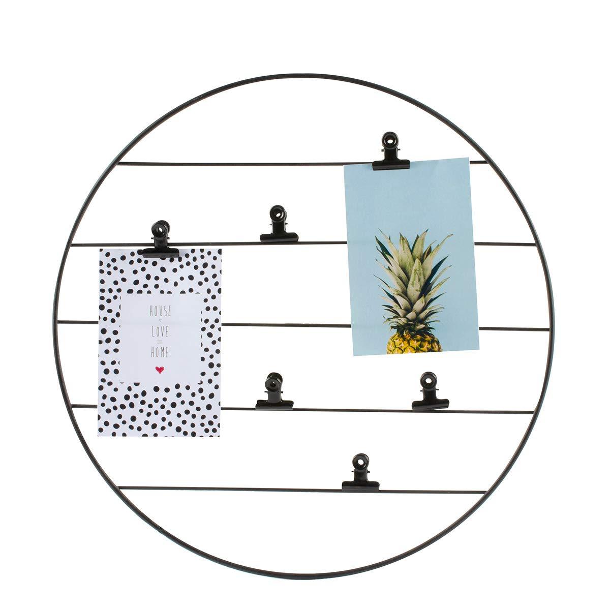 Diam/ètre 40/cm Agenda D/écoratif Mural Noir Mat M/étal Cadre Photos Suspendu 2 Cartes Tendance et 6 Pinces Incluses Dresz 5024001001 Grille Fil de Fer Panneau Grillag/é