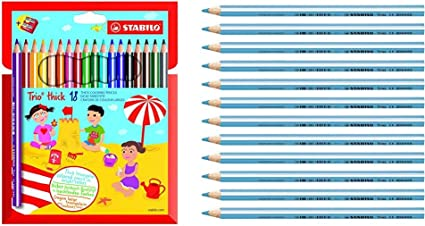 Astuccio da 24 STABILO Trio Maxi matita colorata colori assortiti con Temperino
