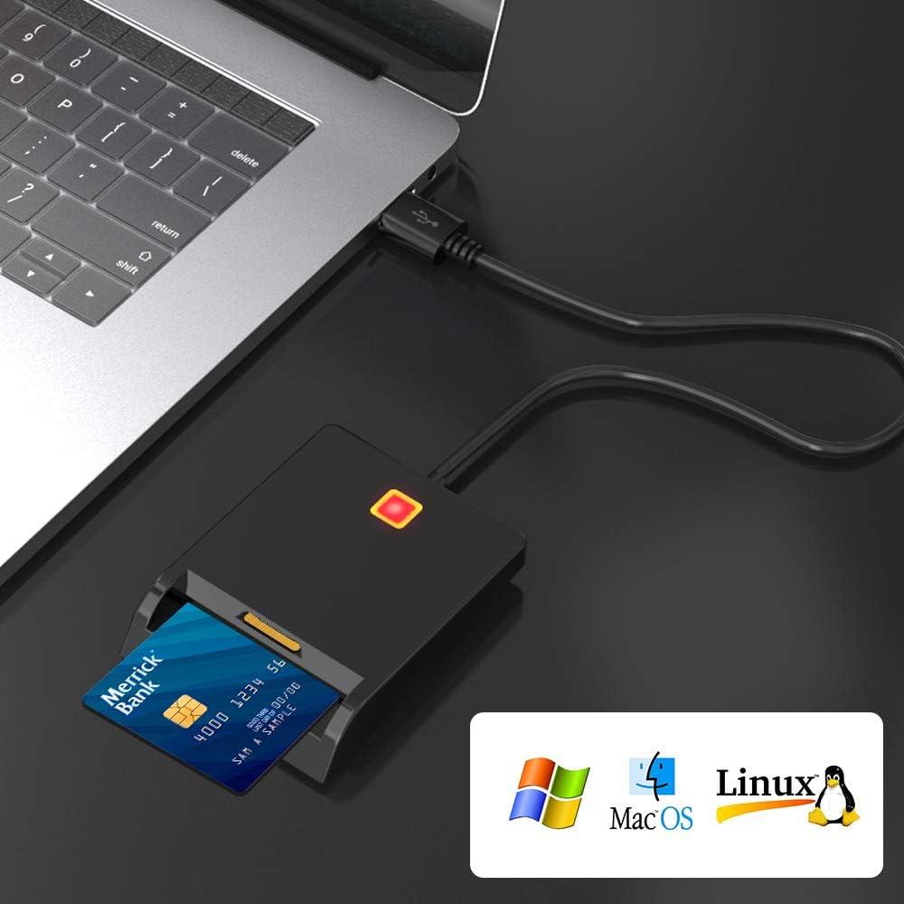 Lecteur de Carte SIM Lecteur de Carte /à Puce Adaptateur de carte dacc/ès CAC /à double emplacement Smart Card Reader Compatible avec Windows Mac OS Linux D/état-LED