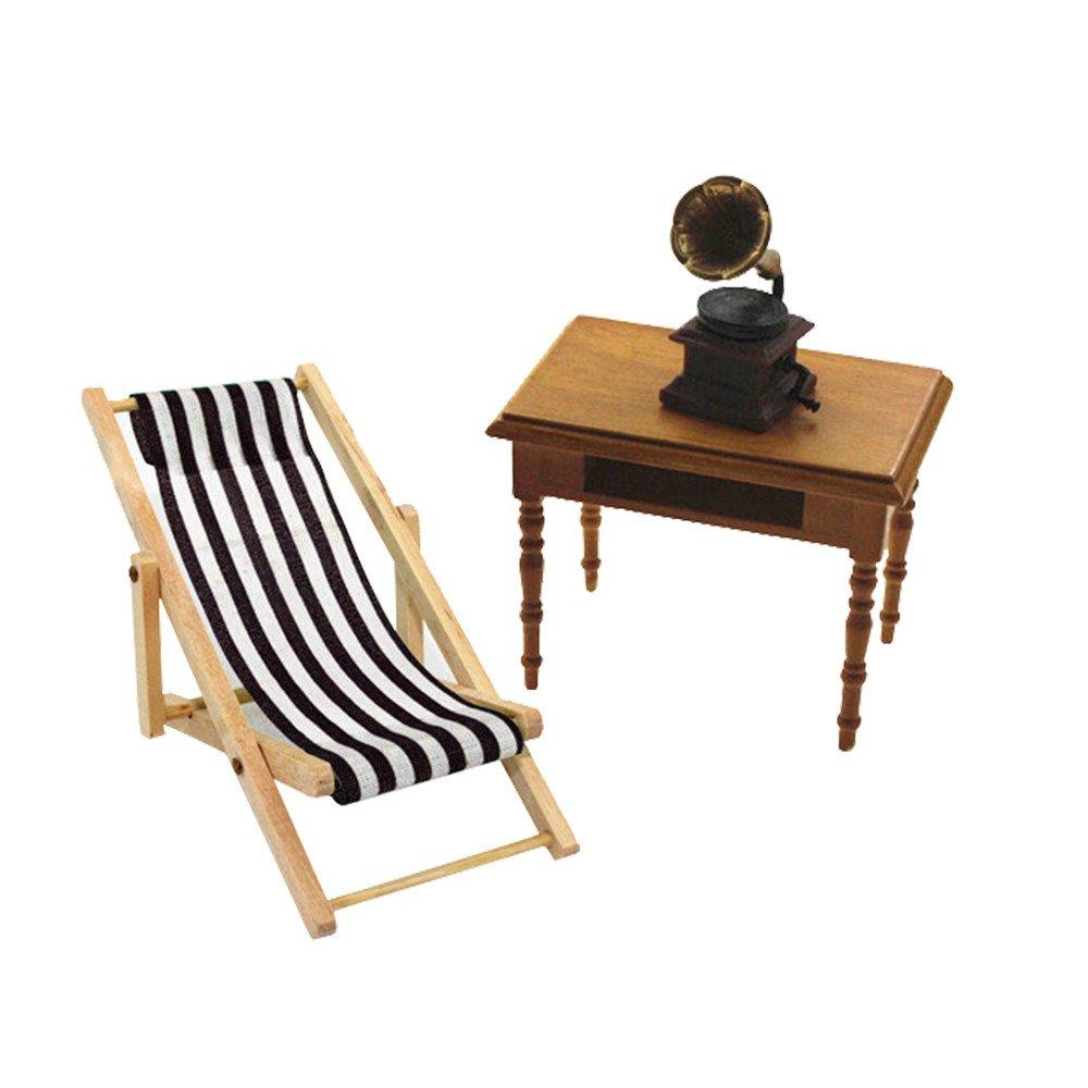 Binory Mini Sand Lounge Chair for 1/6 1/12 Dollhouse Furniture,Fashion Modern Design Miniature Home Living Room/Garden Kids Pretend Toy,Creative Birthday Handcraft Gift(Blue)