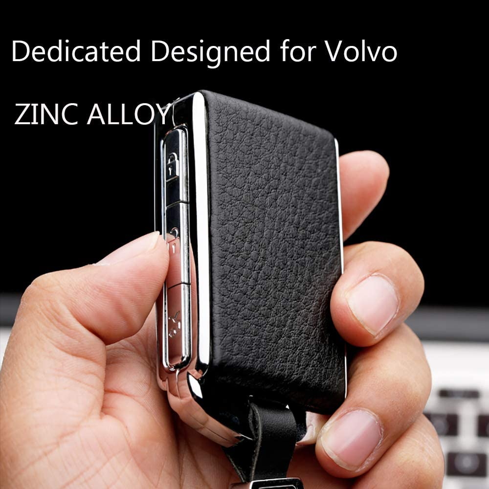 ontto Leather Key Fob Skin Keyless Metal Key Cover Case Keychain Keyring Fit for Volvo XC60 XC90 XC40 S90 V90 Red