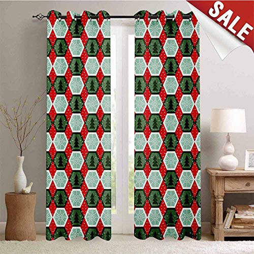 - Geometric Blackout Draperies for Bedroom Hexagon Shapes with Snowflake and Pine Tree Design Winter Themed Thermal Insulating Blackout Curtain W84 x L108 Inch Reseda and Hunter Green Red
