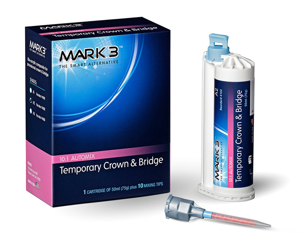 Cargus 4102 Temporary 10:1 Crown and Bridge, A2, 75 g, Cartridge and 10 Tips, Mark3