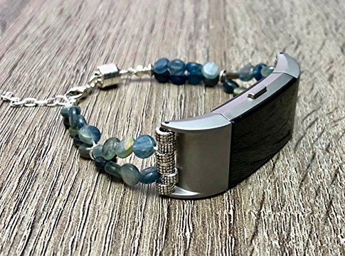 Blue Kyanite Natural Stones Bracelet For Fitbit Charge 2 Fitness Tracker Natural Beads Band Silver Connectors Fitbit Charge 2 Handmade Accessory Fashion Jewelry Adjustable (Handmade Connector)