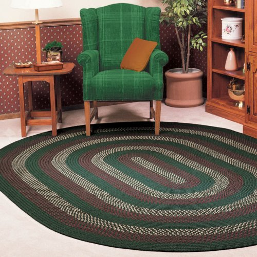 Colonial Mills Deerfield Indoor/Outdoor Braided Area Rug - Hunter Green, Green Accents, 4 x 6 ft. Oval - Green Accents, 4 x 6 ft. (Colonial Mills Hunter Green)