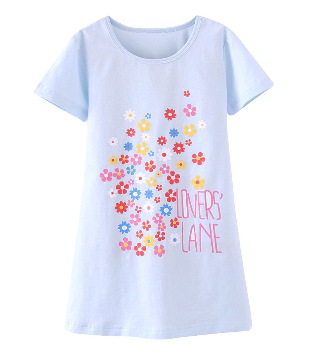 Tortor 1bacha Kid Girl Cute Print Cotton Nightgown Summer Short Sleeve Sleepwear D86503