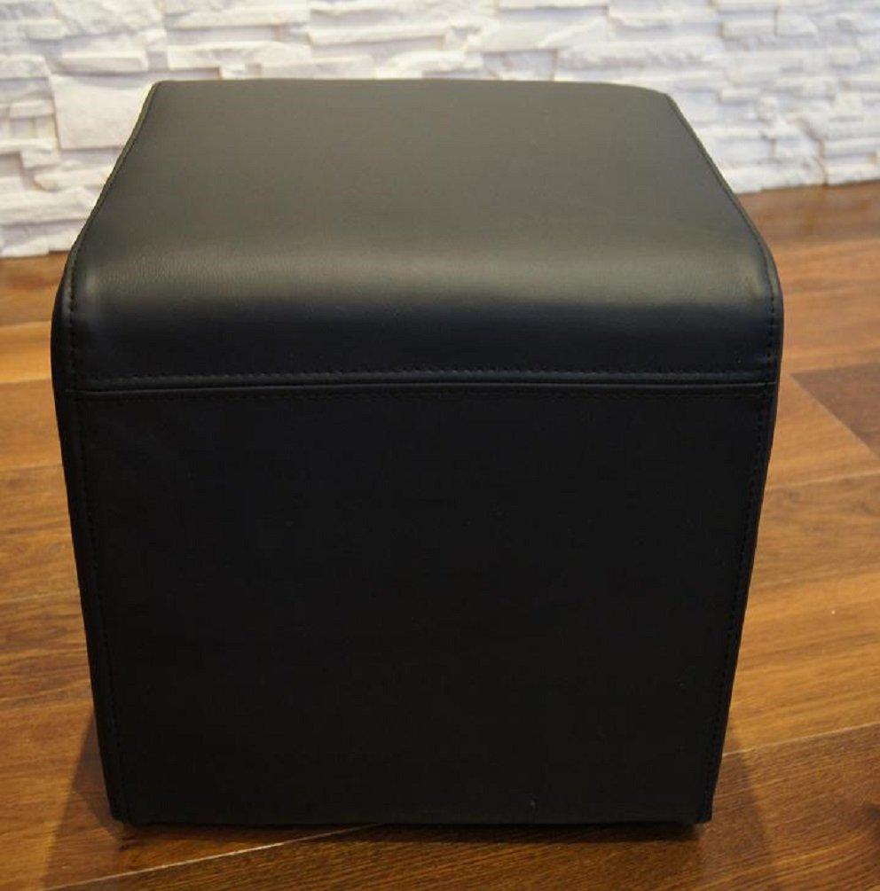 FurnLAB Pouf en Cuir v/éritable Noir 40 x 40 x 40 cm