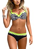 Damen Bikini Set Romacci Damen Bikini Set Bügel Push Up Striped Badebekleidung Zweiteilige Strand Badeanzug