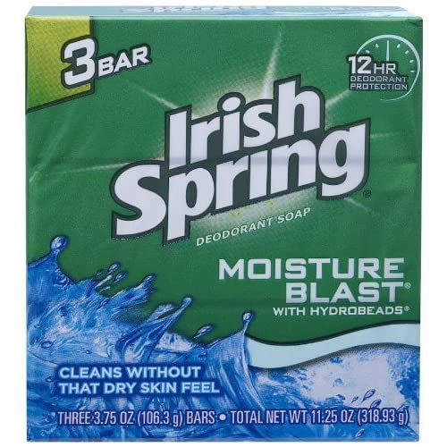 Irish Spring Pains de savon déodorant Moisture Blast - 3 pains - 120 ml