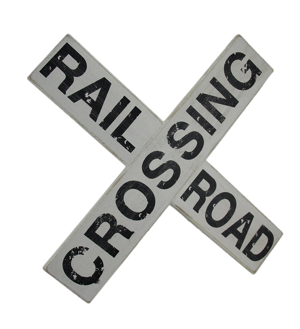Zeckos Wood Outdoor Plaques Black & White Distressed Wood Railroad Crossing Sign Wall Hanging 14 X 14 X 0.38 Inches Off-White by Zeckos