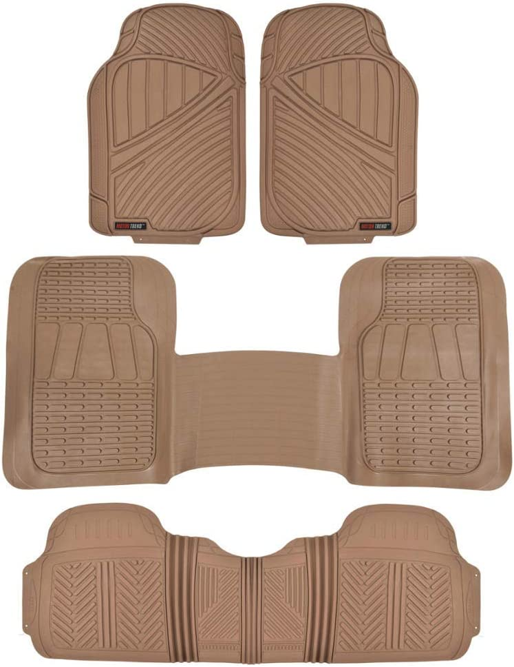 Motor Trend FlexTough 3-Row Heavy Duty Rubber Floor Mats /& Liners Mega Truck//SUV//Van Combo Heavy Duty Odorless All Weather Protection Universal Trim to Fit