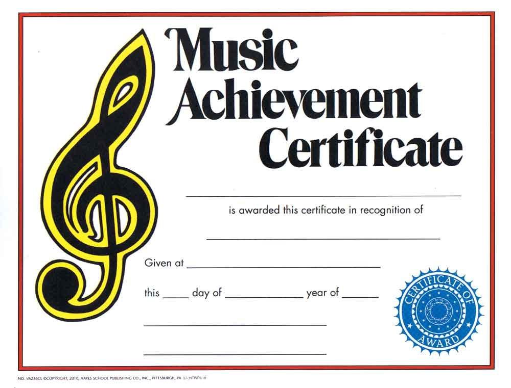 Amazon Music Treasures Music Achievement Award Certificate
