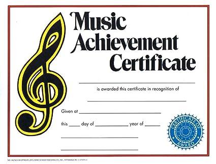 Music Treasures Music Achievement Award Certificate