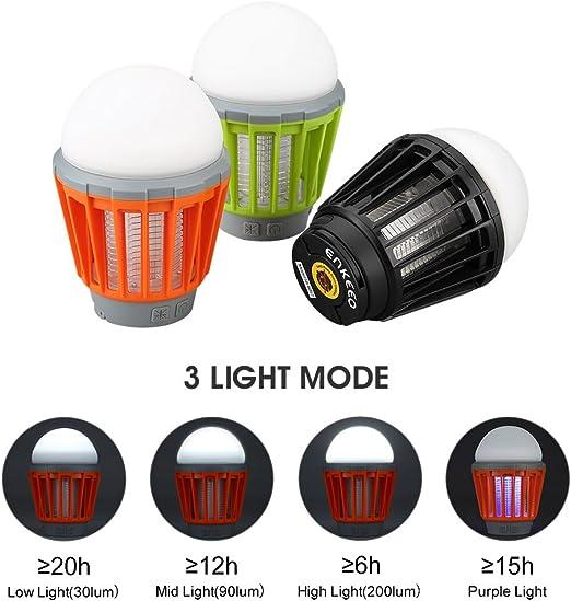 ENKEEO Linterna Camping Antimosquitos L/ámpara IPX6 Luz UV 360-400nm Bater/ía 2000mAH Recargable P/órtatil Desmontable