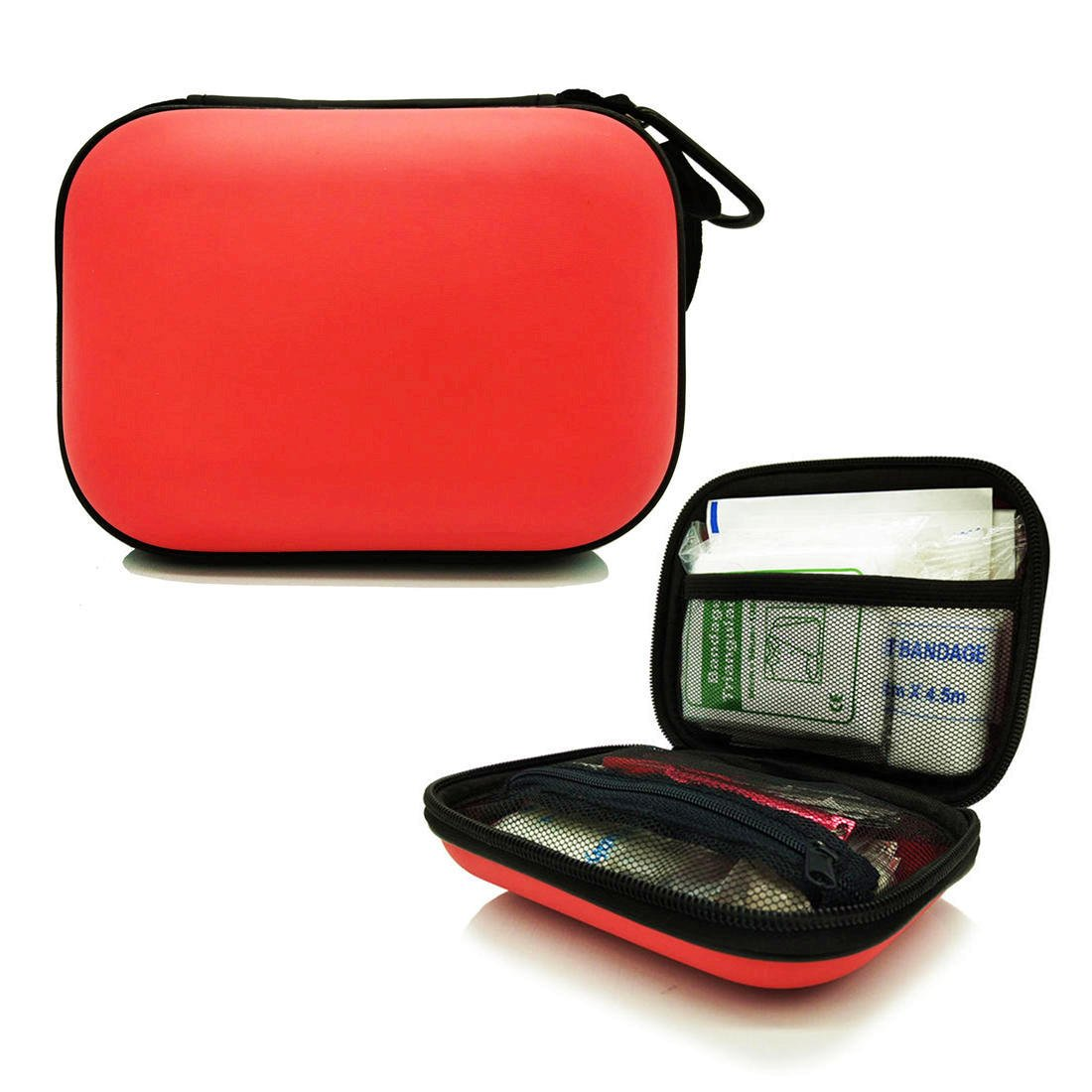 First Aid Kit - Small Waterproof Compact Case, 23 Kinds of Basics for Emergency Survival Safety, for Boat, Cars, House, Office, Camping, Hiking, Travel, Sports, and More Indoors & Outdoors Use, Red