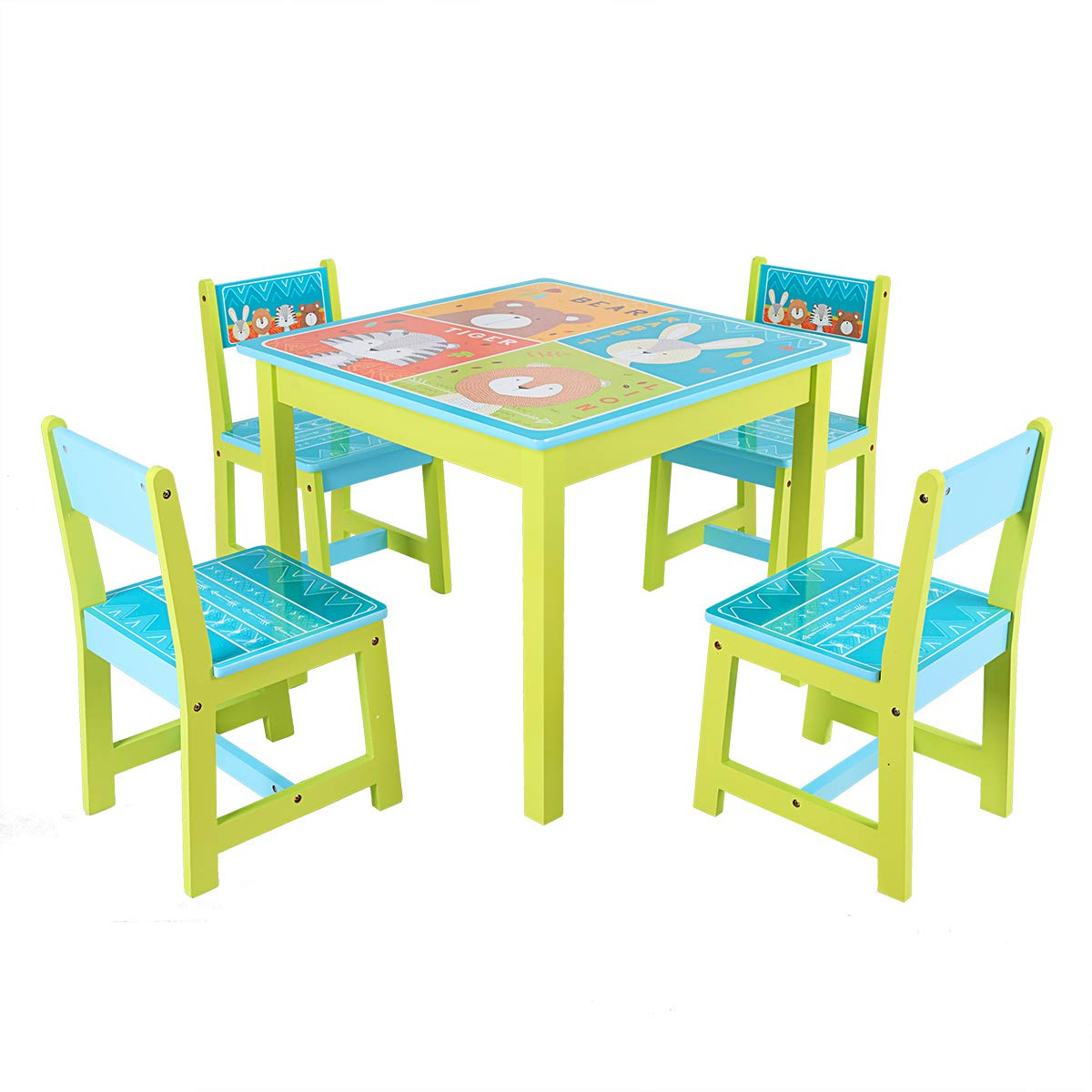 BABY JOY Kids Table and 4 Chairs Set, Wooden MDF Desk for Studying Playing Dining Indoors & Outdoors Activity, Toddler Baby Gift Desk Furniture Cartoon Pattern (Table and 4 Chairs) by BABY JOY (Image #9)