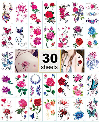 Flower Temporary Tattoo Stickers for Women, Kids, Men, Girls - 100+ Different Transfer Stickers, Fashion Fake Tattoos Waterproof, Tattoo Stickers with red pink rose, butterfly, heart