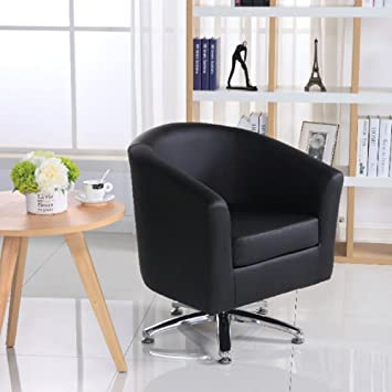 Designer Leather Swivel Tub Chair Armchair Dining Living Room Office Reception (Black) & Designer Leather Swivel Tub Chair Armchair Dining Living Room Office ...