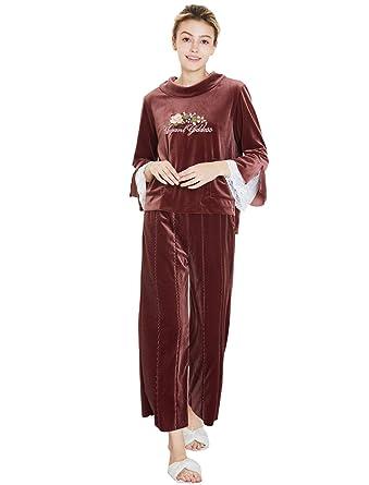 TieNew Mujer Pijama 2 Piezas Invierno Camiseta Raso Prenda Manga Larga Ropa Dormir, Kimono Pijamas Mujer Terciopelo, Suave, Cómodo, Sedoso y Agradable: ...