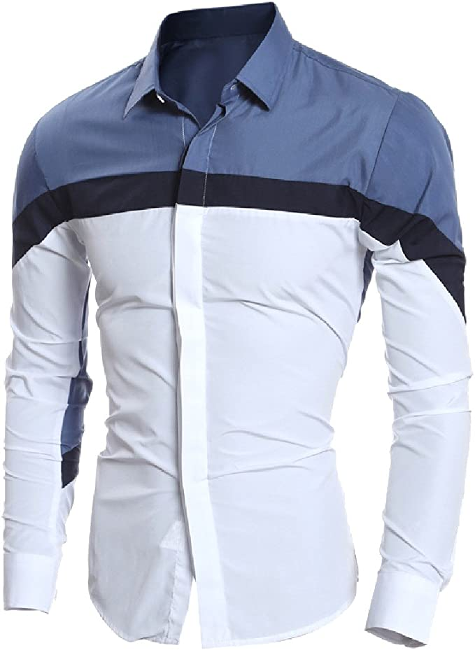 Wofupowga Men Color Block Casual Button Front Long Sleeve Turn Down Collar Shirts