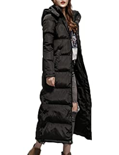 Flygo Womens Long Down Coat Hooded Maxi Down Parka Puffer Jacket Outerwear