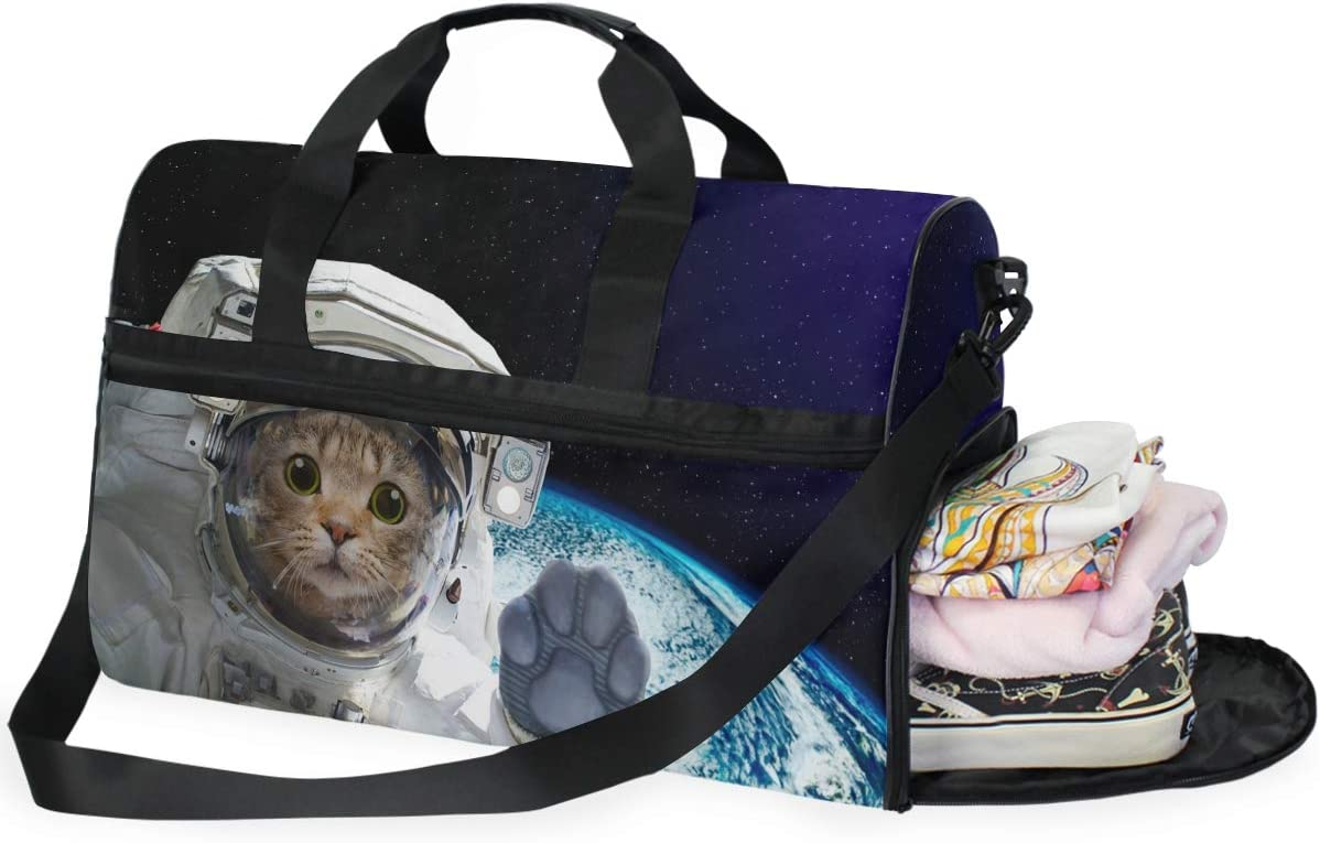 ALAZA Cat Astronaut in Space Sports Gym Duffel Bag Travel Luggage Handbag Shoulder Bag with Shoes Compartment for Men Women