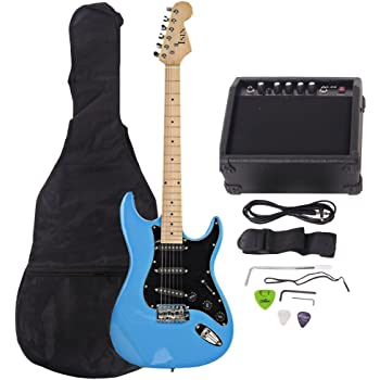 isin full size electric guitar for beginner with amp and accessories pack guitar bag. Black Bedroom Furniture Sets. Home Design Ideas