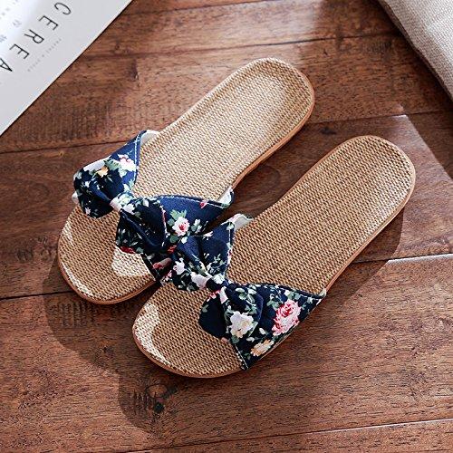 DogHaccd Zapatillas,Zapatillas mujer ropa de verano estancia interior piso antideslizante Home cute Pajarita cool zapatillas macho Mar azul3