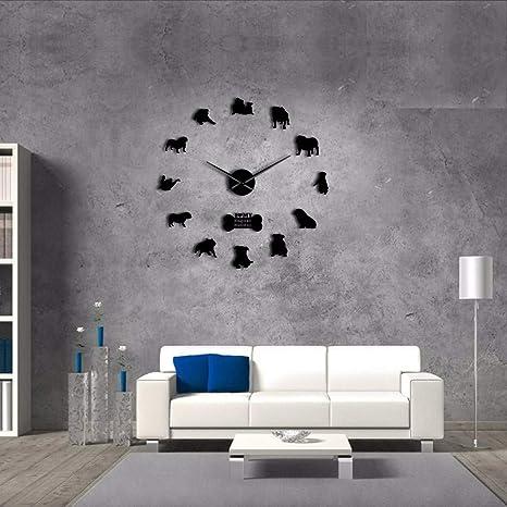 Wmbz Bulldog Inglés Decoración para El Hogar Reloj De Pared Bulldog Británico Siluetas Arte De La