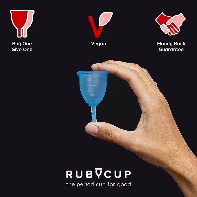 Ruby Cup - Copa menstrual hipoalergenica- talla S (pequeña, flujo ligero) – AZUL – Incluye donación de copa. Perfecta para principiantes. Una ...