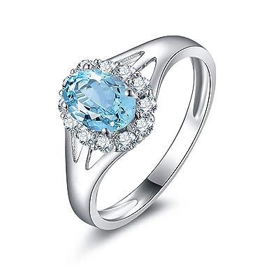 966b0c2886b7 Blisfille Joyas Anillo Compromiso Mujer 18 Kilates Anillo de Flower Anillos  Oro Blanco Diamantes Anillo de Plata de Ley 925