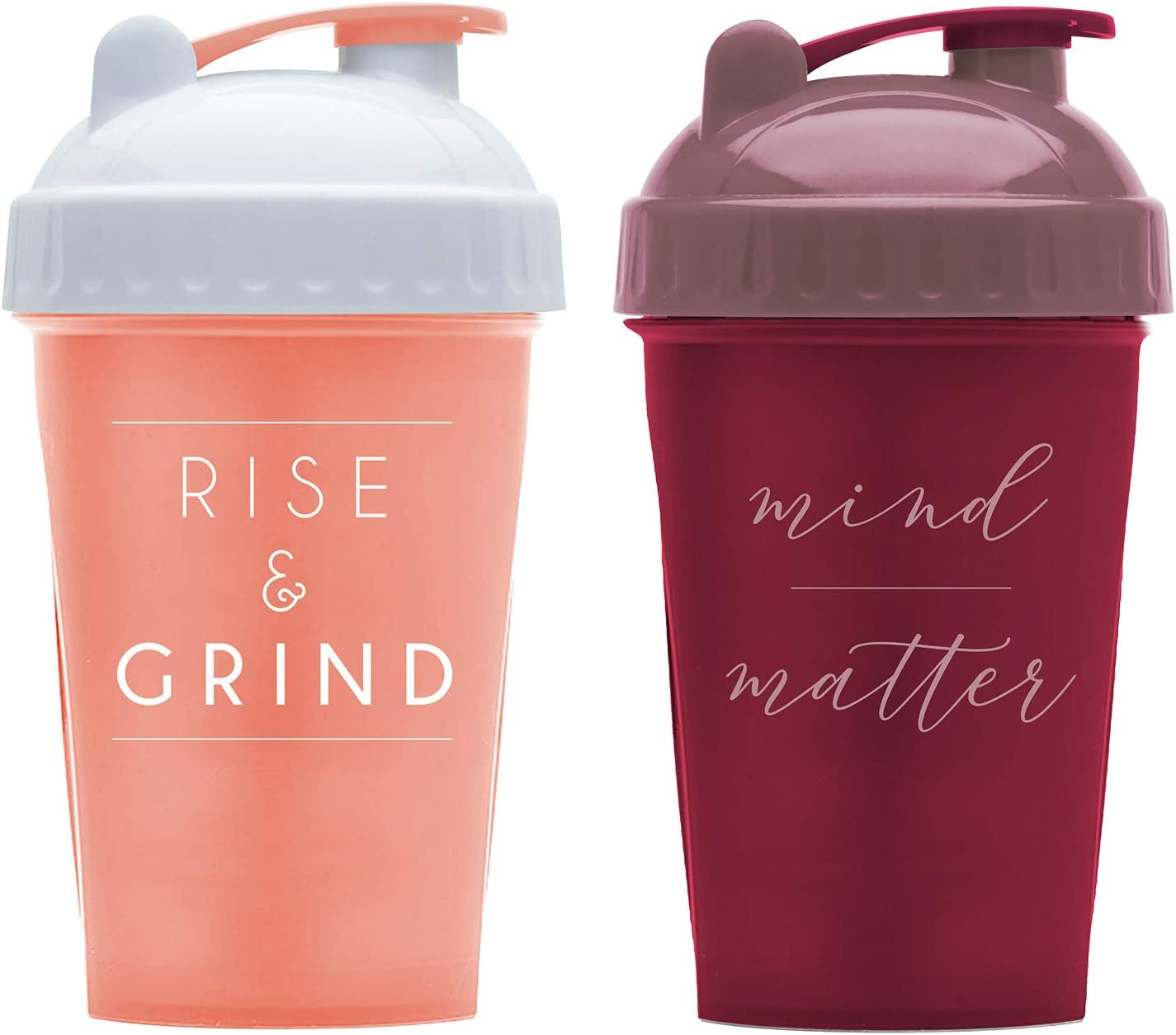 Motivational Quotes on Performa Perfect Shaker Bottle, 20 Ounce Classic Protein Shaker Bottle, Dishwasher Safe, Leak Proof, Multiple Sayings and Colors (Two Pack - Rise Coral & Mind Over Matter)