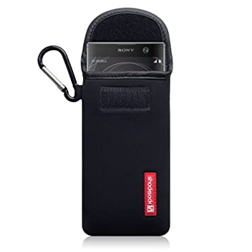 super popular 8ed65 2ee55 Shocksock, Compatible with Sony Xperia XA2 Case, Neoprene Shock Resistant  Pouch with Carabiner - Black