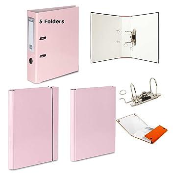 5 archivadores de palanca + 2 carpetas de tapa dura (1 con cierre de velcro + 1 con elástico de cierre), color rosa pastel: Amazon.es: Oficina y papelería