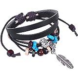 niceeshop(TM) Cross Friendship Bead PU Leather Bracelet Adjustable Size