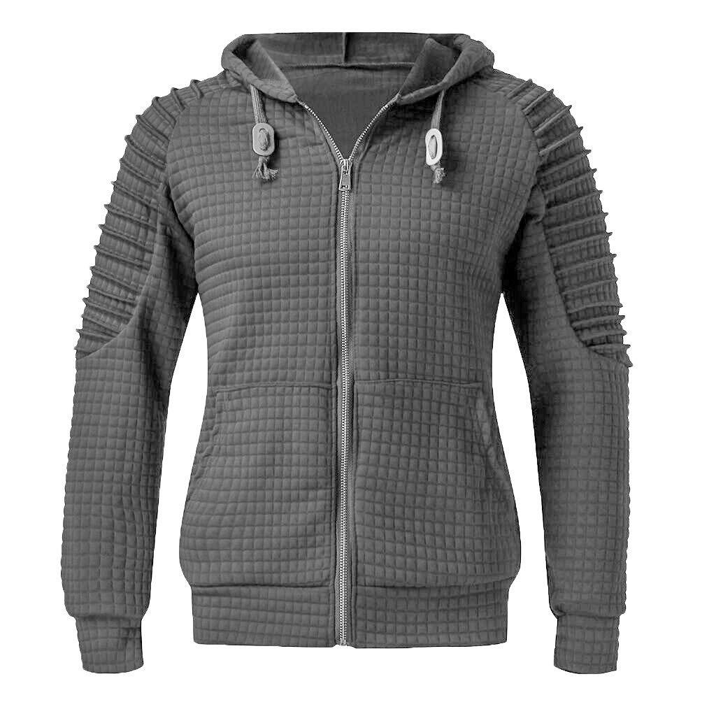 LUCAMORE Sweatshirts Outwear Men's Fashion Long Sleeve Pleated Plaid Hoodies Trendy Plu Size S-5XL