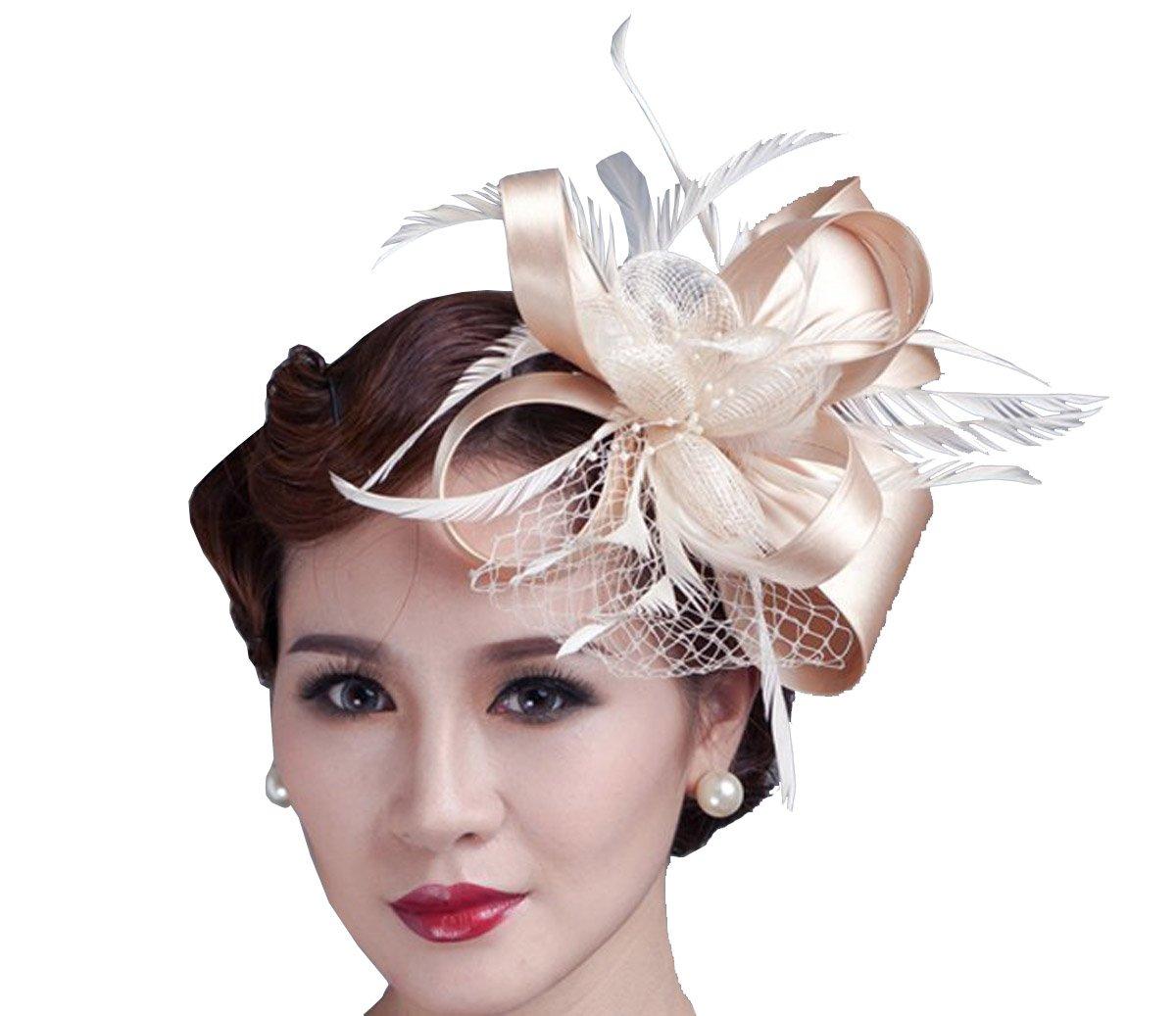 Sheliky Fascinator Flower Cocktail Party Headdress Wedding Bridal Headpiece for Women (Champagne)