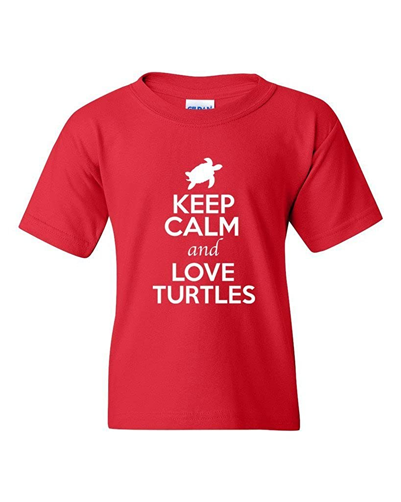 Gfj65S Keep Calm and Love Turtles Animal Lover Youth Kids T-Shirt Tee