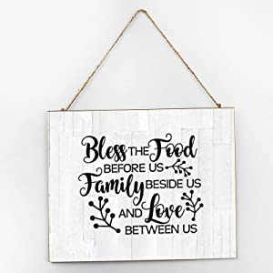 Diuangfoong Bless The Food Family Love Inspirational Wall Art, Inspirational Signage, Wooden Signs for Home Decor Kitchen Bathroom, Wooden Frame Wall Hanging Sign 10x12x0.2 Inch