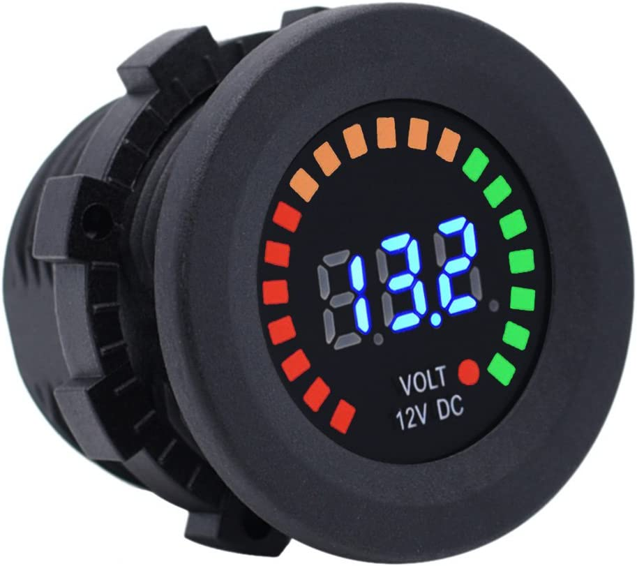 Cllena DC 12V Digital LED Voltmeter Panel Multicolor Indicator for Car Marine Boat Motorcycle Truck ATV UTV Camper Caravan