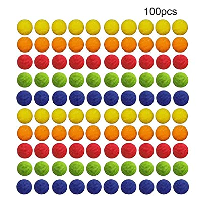 Beher 100Pcs Rounds Refill Compatible Replace Bullet Balls Pack for Rival Apollo Zeus Children Kids Toy Gun Bulk Foam Bullet Ball Replacement Refill Pack: Toys & Games