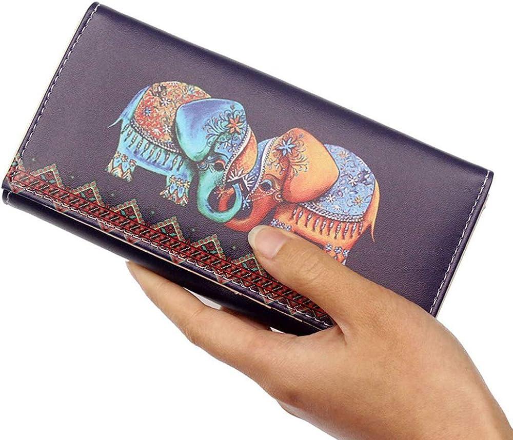 Monedero Con Diseño De Elefante Y Graffiti Para Mujer Estilo Vintage Con Diseño De Animales Cartera Larga Clothing Amazon Com