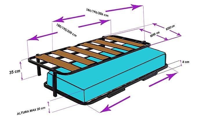 HOGAR24.es-Cama Nido con 2 somieres Estructura Reforzada Doble Barra Superior + Patas + 2 colchones Aloe Vera + 2 Almohadas de Fibra de Regalo-80x200cm: ...