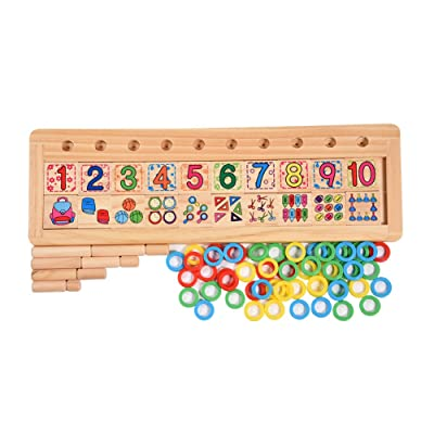 GLOGLOW Wooden Educational and Learning Puzzles Toy Math Educational Toy Number Puzzle Board Counting Toys Birthday for Kids Children Toddlers: Toys & Games